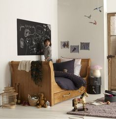 Neutral boys room, black, gray, white and brown: teen or tween worthy.