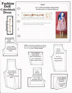 Toy dolls houses, everything from conventional wooden buildings to really Barbie Dreamhouses. Sewing Barbie Clothes, Barbie Sewing Patterns, Doll Dress Patterns, Sewing Dolls, Clothing Patterns, Free Printable Sewing Patterns, Doll Patterns Free, Princess Barbie Dolls, Free Barbie