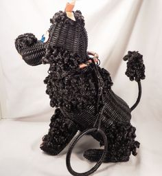 Rare Vintage Figural Black Wicker Poodle Animal Purse