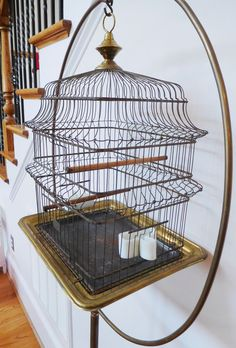 Antique HENDRYX Brass Bird Cage & Stand Glass Feeder Dishes Orig Perches Vintage #Hendryx