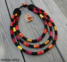 Gorgeous tribal-inspired yarn-wrapped rope necklace meticulously created with mixture of various colorful yarns! You can be sure that your necklace Rope Necklace, Heart Pendant Necklace, Beaded Necklace, Wire Earrings, African Accessories, African Jewelry, Korean Jewelry, Textile Jewelry, Fabric Jewelry