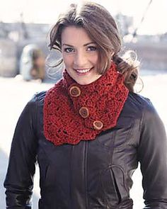 Neck Warmer with button closure. Simple, straightforward pattern for extra chunky yarn. (pattern is free but site requires registration)