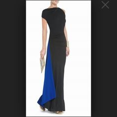 "BCBG long evening gown ""Carine"" asymmetrical draped evening gown - black in front, blue in back. Worn once to a wedding - in great condition! Gorgeous and unique! BCBGMaxAzria Dresses"
