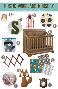 Rustic Woodland Nursery - An inspiration board for a baby boy nursery