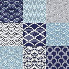 """Papier peint """"bleu, arrière-plan, ornement - motif de vagues de l'océan transparente japonais"""" ✓ Un large choix de matériaux ✓ Impression écologique 100% ✓ Regardez des opinions de nos clients !"""