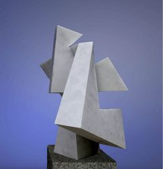 Marble Abstract Contemporary Modern Outdoor Outside Garden / Yard sculpture statuary sculpture by sculptor Neil Ferber titled: 'ELUSIVE (Little Geometric Carved marble Miniature statuette)' - Artwork View 4