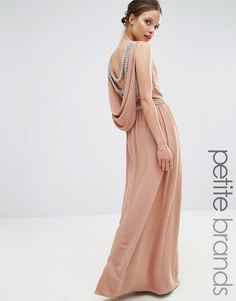 TFNC Petite | TFNC Petite Wedding Embellished Drape Back Maxi Dress