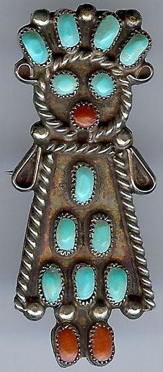 Charming vintage zuni indian silver turquoise coral female kachina pin