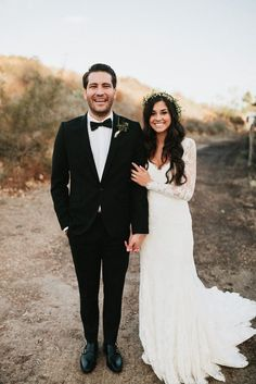 A boho wedding featuring an Essense of Australia wedding dress Style D1745.