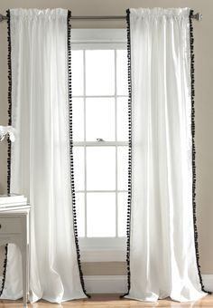Pompom Rod Pocket Curtain Panel