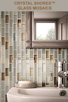 This glass mosaic blends colored crystallized glass and metallic texture for truly radiant designs. An array of beautiful colors available in two sizes amplify the ambiance of relaxing bathrooms and dramatic accents. Relaxing Bathroom, Bathroom Accents, Tile Layout, Georgian Homes, Brickwork, Visual Effects, Tile Design, Backsplash, Beautiful Homes