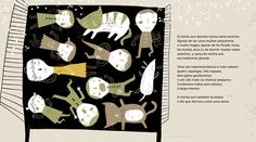 Illustrations by Yara Kono, in A Manta, Planeta Tangerina. Cats in bed, and cats having a fit and ripping curtains, which ten end up in a quilt.