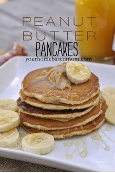 Peanut Butter Pancakes are a fun change for breakfast. Add bananas and a drizzle of honey for a delicious treat.