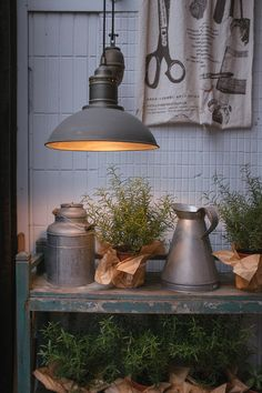 zinc and the potting bench Garden Spaces, Garden Pots, Garden Sheds, Le Hangar, Potting Sheds, Potting Benches, Deco Champetre, She Sheds, Milk Cans