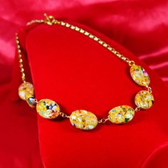 Yellow Multicolored Shell and Resin Hand Wire-Wrapped Chain Link Necklace