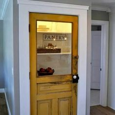 21 Stylish Pantry Door Ideas to Make Your Kitchen Efficient Chalkboard Pantry Doors, Rustic Pantry Door, Kitchen Pantry Doors, Sliding Pantry Doors, Kitchen Pantry Design, Kitchen Ideas, Built In Pantry, Small Pantry, Frosted Glass Pantry Door