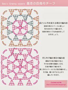 基本の四角モチーフ(グラニースクエア)の編み図 Basic granny square chart
