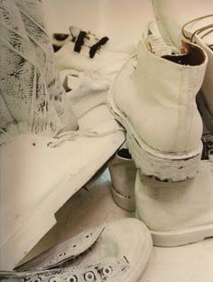 """Vintage Shoes Painted"" by Maison Martin Margiela. Part of the first menswear line, S/S 1999."