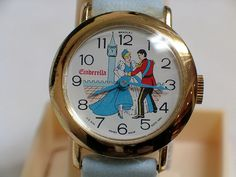 Vintage Cinderella Character Watch by Bradley, Manual Wind, Swiss-Made with U.S. Dial, Circa 1980.