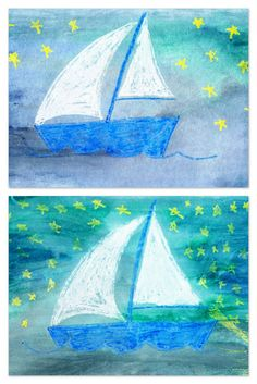 Watercolor Resist - Draw the sailboat with crayon (from Draw Write Now) and have the kids watercolor over it.