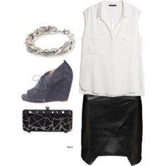 FASH!ON FACTOR!AL: Sleeveless Blouse + Leather Mini #leather #whitebuttonup  #fashion #fallfashion #styling