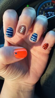 Bronco Nails! But maybe something else for the pinkie.  #football #broncos