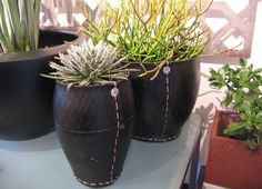 hand stitched recycled car tyres into pots - sturdy + indestructible Recycled Decor, Repurposed, Recycled Tires, Old Tire Planters, Planter Pots, Old Tires, Car Tyres, Tire Art, Recycling