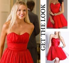 Endless Love 2014 movie fashion: Jade Butterfield's (Gabriella Wilde) strapless, red graduation party dress was vintage and repurposed for the film #getthelook #endlesslove #prom #homecoming