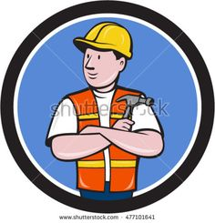 Illustration of a builder carpenter construction worker arms folded holding hammer looking to the side set inside circle on isolated background done in cartoon style. #carpenter #cartoon #illustration