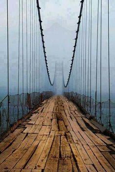 Mislabeled location Plank Bridge, Cascille, Northern Ireland - Bridge is over Katun river at Tjungur, Altaj Mountains, Siberia, Russia.