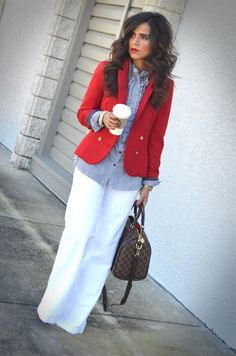 Red suit jacket, wish I could wear white pants.  ha ha......I'm to heavy right now, but now for long.