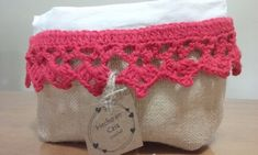 organizadores-paneras :: Hecho-en-casa-crochet Burlap, Reusable Tote Bags, Organization, Farmhouse Rugs, Craft, Log Projects, Burlap Bags, Fabric Purses, Fabric Gifts