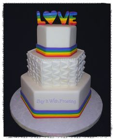 Pensacola LGBT Wedding Cakes- Custom Rainbow themed wedding cake for a Pensacola Bridal Show at the Hilton Airport wedding venue.