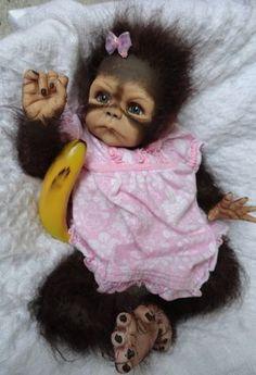 OOAK Reborn Monkey Orangutan Baby Girl Art Doll Primate Ape Original Cute | eBay
