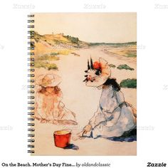"""Mother's Day Fine Art Gift Notebooks. """"On the Beach, Shinnecock 1895"""" by William Merritt Chase (1849 - 1916). Matching cards, postage stamps and other products available in the Holidays / Mother's Day Category of the oldandclassic store at zazzle.com"""