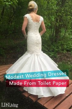 woman finds answer prayers creating modest wedding dresses from toilet paper