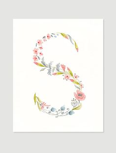 Letter S flower giclee print watercolor painting, peach color, initial monogram illustration kids wall art decor nursery art by VApinx Watercolor Kit, Watercolor Illustration, Illustration Kids, Watercolor Flowers, Fancy Letters, Flower Letters, Flower Typography, Teal Art, Alphabet Pictures
