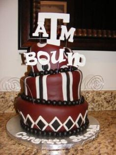 """texas a&m cake; could also take off the """"bound"""" and and make it a graduation cake; ring dunk cake; etc."""