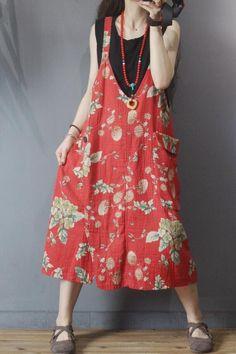 Red big pocket dress, retro dress, suspender dress, midi Dresses, party dress, Summer dress Cotton Dresses, Cute Dresses, Midi Dresses, Denim Dresses, Summer Dresses For Women, Dress Summer, Suspender Dress, Retro Dress, Swing Dress
