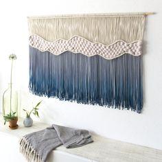 "x – Fiber Art – ""Where The Waves Break"" Extra Large Macrame Wall Hanging – Large! x – Fiber Art – ""Where The Waves Break"" Macrame Art, Macrame Projects, Macrame Knots, Handmade Wall Hanging, Large Macrame Wall Hanging, Deco Boheme, Macrame Patterns, Tapestry Weaving, Fiber Art"