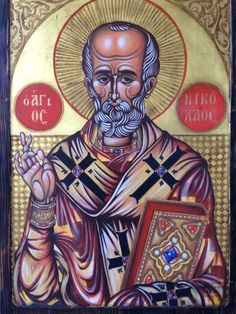 St Nicholas  Άγιος Νικόλαος. Egg tempera on wood. 61 x 85 cm Δια χειρός Χαράλαμπος Φλώρα κ' Ελένη.