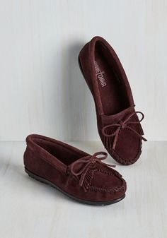 Fundamental Footwork Flat in Raisin. You cant go wrong when you slip into these deep burgundy moccasins by Minnetonka! #red #modcloth