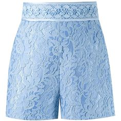 Martha Medeiros High-Waisted Lace Shorts ($1,203) ❤ liked on Polyvore featuring shorts, blue, high waisted lace shorts, lacy shorts, martha medeiros, blue shorts and lace shorts