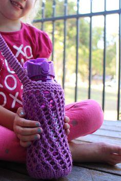 Bishi knitted water bottle holder #knit #knitting