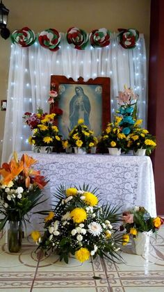Virgin Mary Birthday, Home Altar Catholic, Lady Guadalupe, Altar Decorations, Christmas Room, Kitsch, Backdrops, Baby Shower, Design