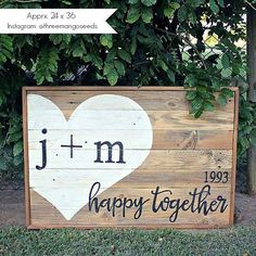 PERSONALIZED Wedding Sign Guestbook with Heart / Happy Together / Established / 24 x 36 / Guestbook Alternative / Hand Painted / Reclaimed  ********* Shipping on ALL signs is taking 4 to 6 weeks. *********** *** You can add the RUSH OPTION for $30, sign will ship within 2 weeks. ***  - 100% Hand Painted - Rustic wood background - Raw rustic frame - Dimensions approximately 24 x 36 inches - Horizontal Style - Guests can use a fine point sharpie to leave messages for the bride & groom on the…