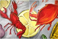 "Date Night! ""Crab & Crawfish Set"" Bring Your S. - Friday, April 2019 - Painting with a Twist Metairie, LA Couple Painting, Painting On Wood, Basketball Drawings, Louisiana Art, Summer Painting, La Art, Some Beautiful Pictures, Paint And Sip, Nautical Art"