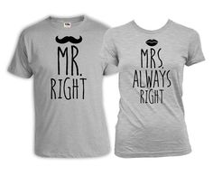 His And Her Shirts Bride And Groom Gifts Wedding T Shirts Husband And Wife Shirts Mr Right Mrs Always Right Mens Ladies Tee Mrs Always Right, Mr Right, Matching Couple Shirts, Matching Set, Bride And Groom Gifts, Harry Potter Outfits, Cute Shirts, Marriage Gifts, Cool Things To Buy