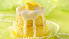 Make a toast!  This elegant champagne cupcake has a twist of lemon in the filling and glaze.