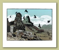 Castell y Bere and Bird Rock Greeting Card by Ian Phillips Linocut Artist